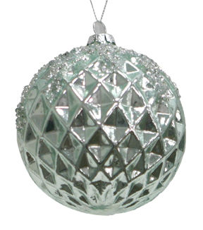 Maker's Holiday Christmas Glass Globe Ornament-Blue Geometric
