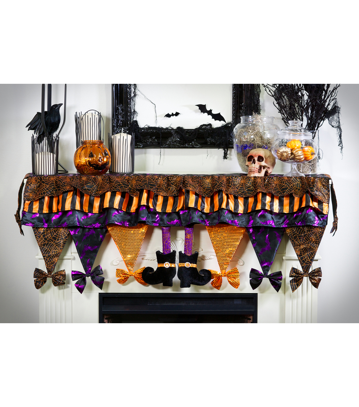 Maker\u0027s Halloween Fabric Witch Legs Mantle Scarf-Multi