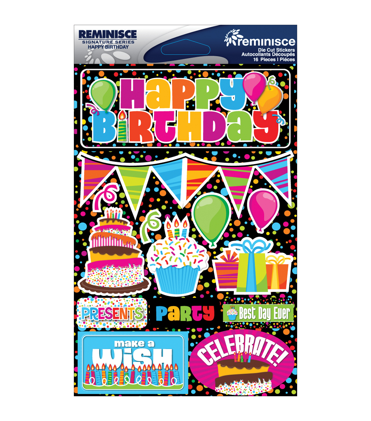 Reminisce Signature Dimensional Stickers Happy Birthday