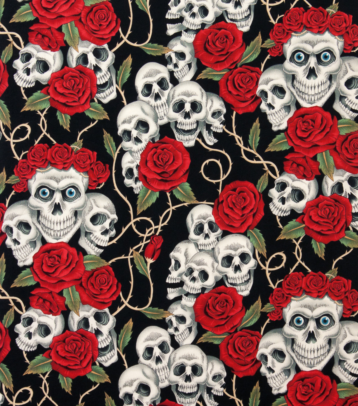 "Alexander Henry Cotton Fabric 44""-The Rose Tattoo Black Brite"