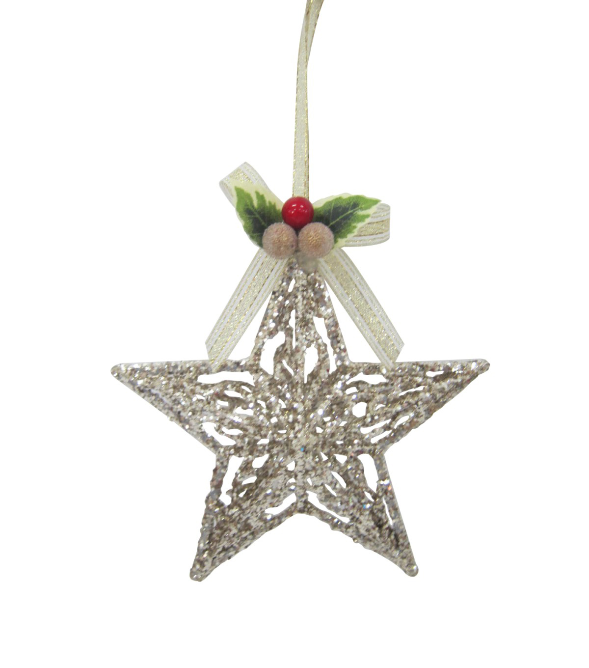 Maker\u0027s Holiday Christmas Glistening Pines Glitter Star Ornament-Natural