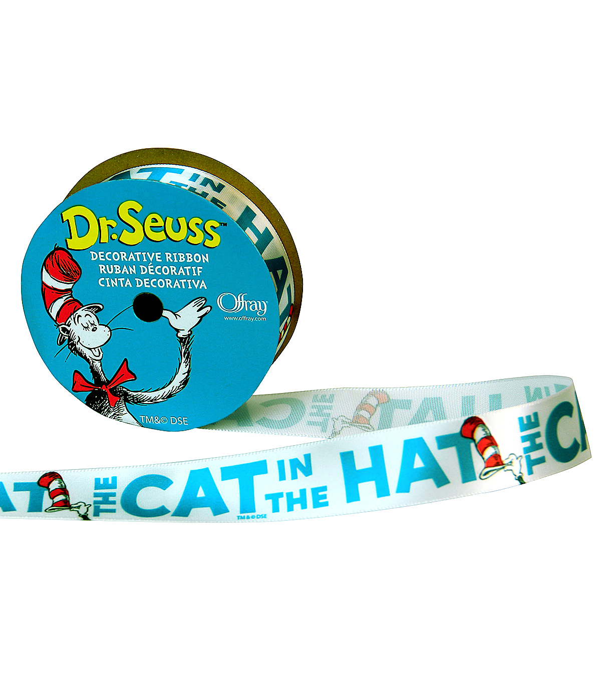 Offray 7/8\u0022x9\u0027 Cat in the Hat Dr Seuss Character Single Faced Satin Ribbon-White and Red