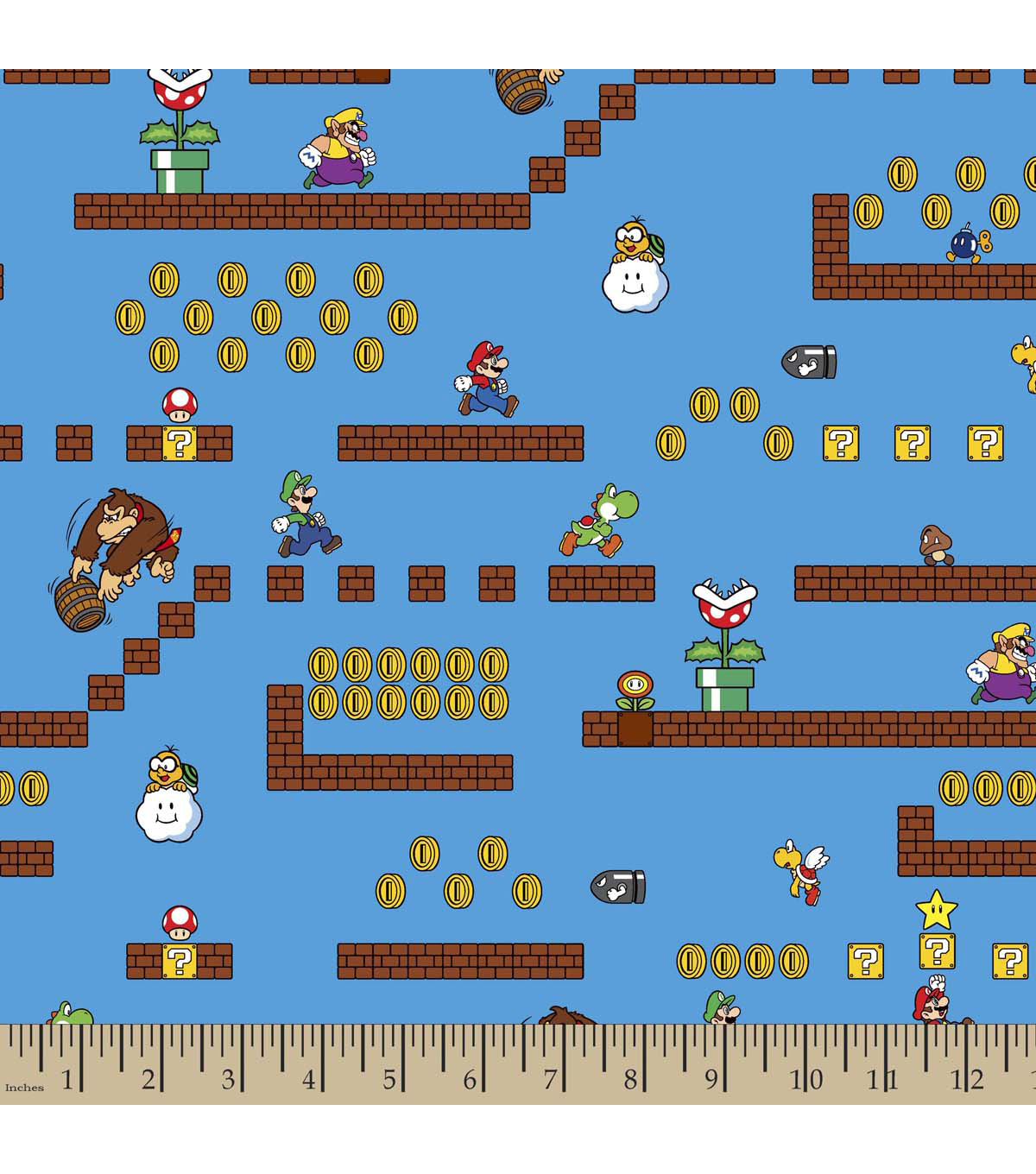 Nintendo Game Scenes Cotton Fabric