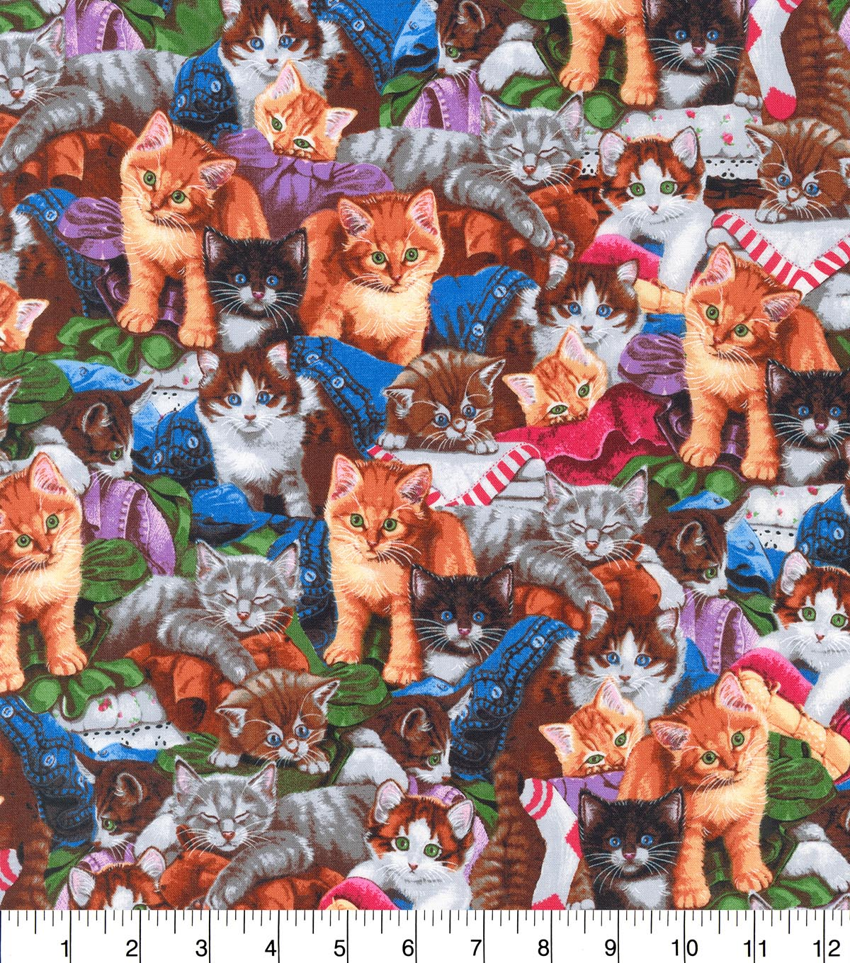 Novelty Cotton Fabric 44\u0022-Cuddling Kittens