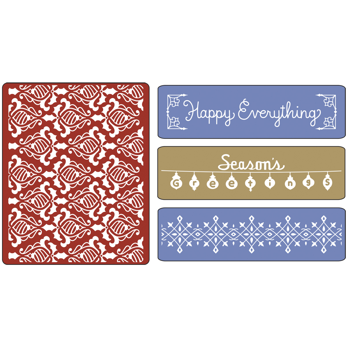 Sizzix Impressions Embossing Folders Holiday Damask With Borders