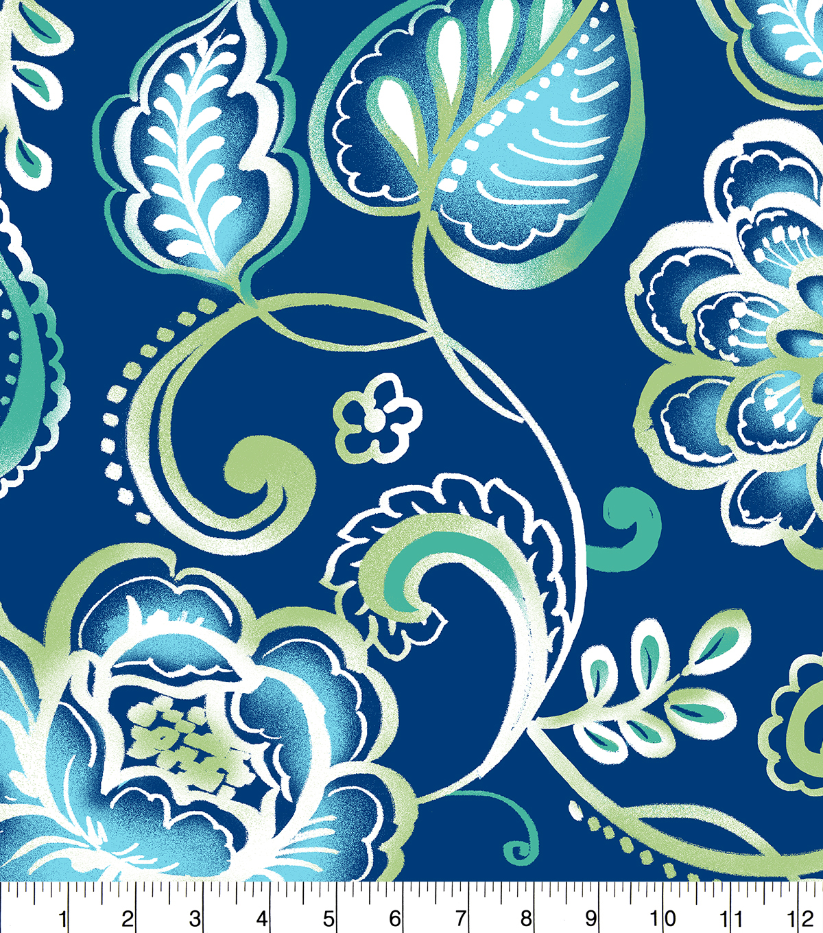 "Anti-Pill Fleece Fabric 58""-Blue Green Floral Royal"