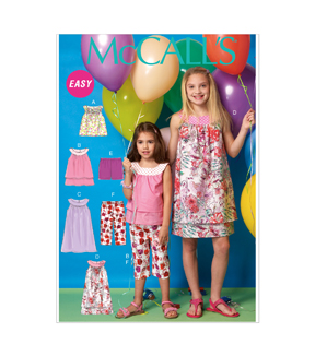 McCall's Pattern -M7148-CHJ Girls' Tops, Dresses, Shorts and Capris-7-14
