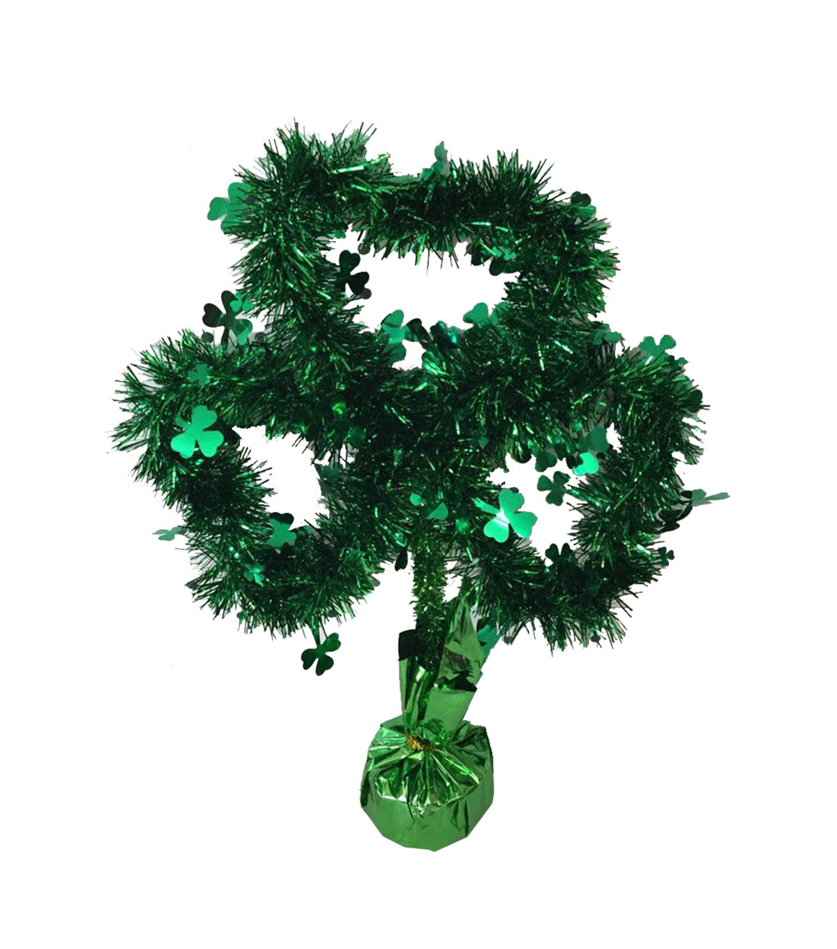 St. Patrick's Day Tinsel Table Decor-Shamrock