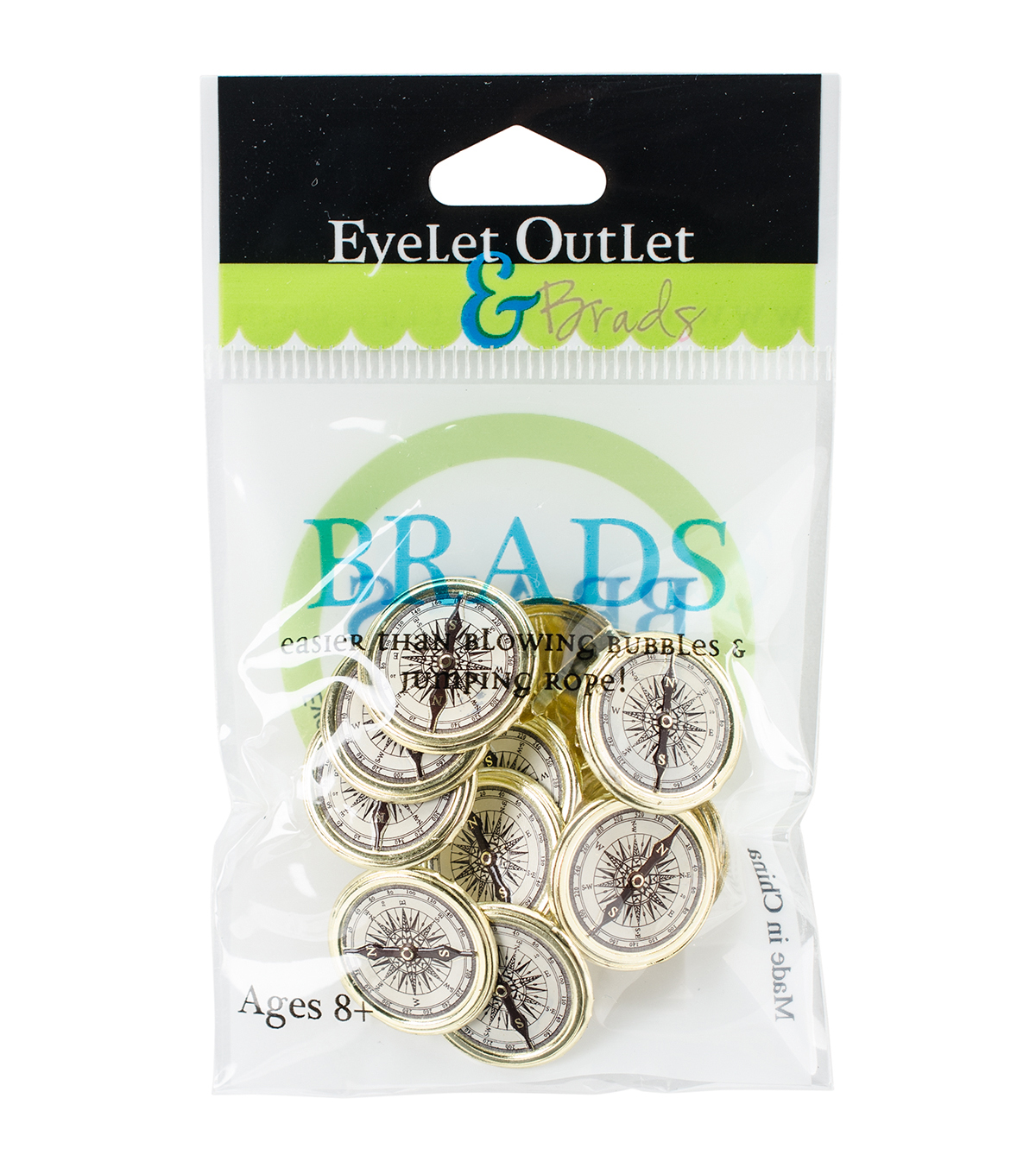 Eyelet Outlet 12ct Shape Brads-Compass