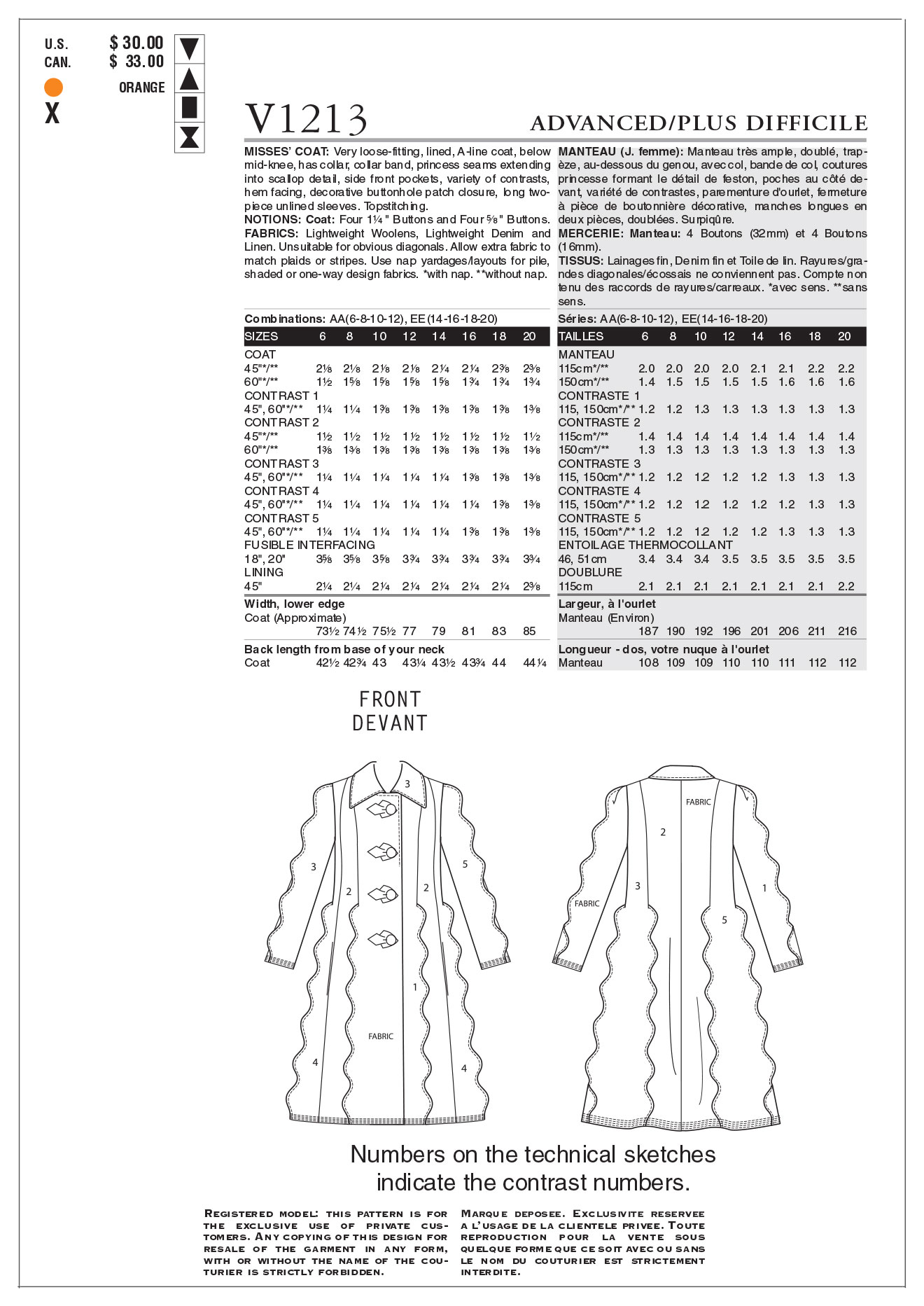 Mccall Pattern V1213 Aa (6-8-10-Vogue Pattern