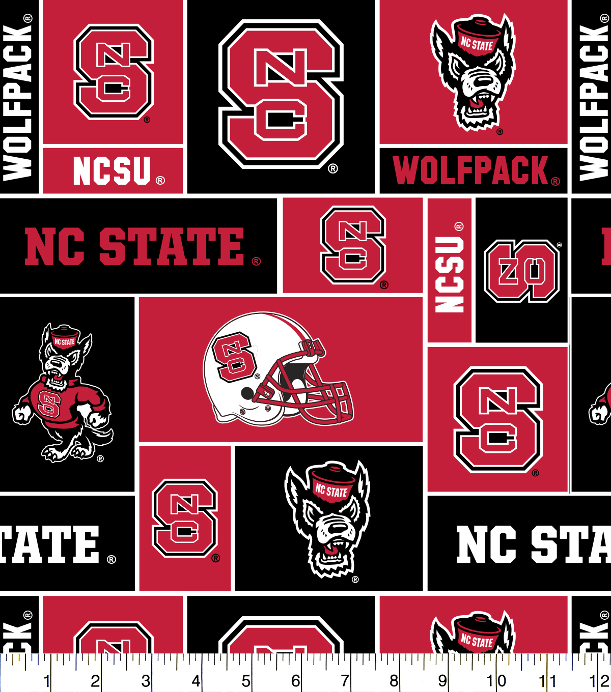 North Carolina State Wolfpack Fleece Fabric 58\u0022-Block