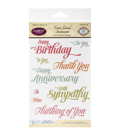JustRite Papercraft Clear Stamp Set 4\u0022X6\u0022- Extra Grand Sentiments