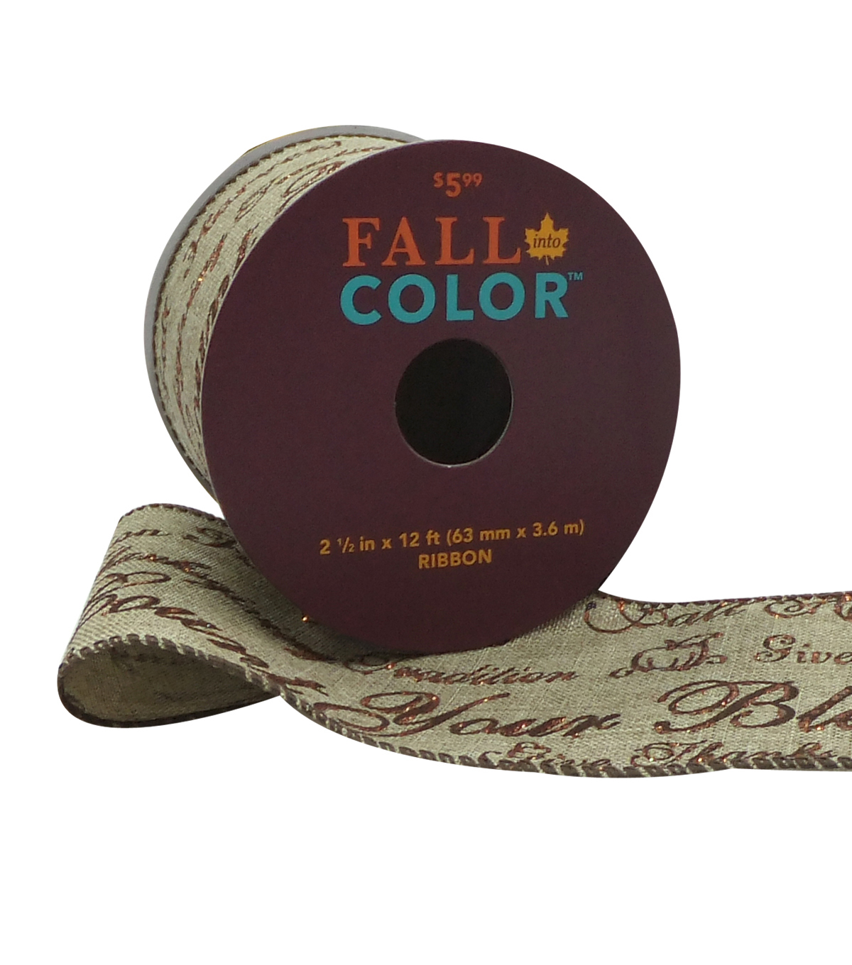 Fall Into Color Ribbon 2.5''x12'-Count Your Blessings on Natural
