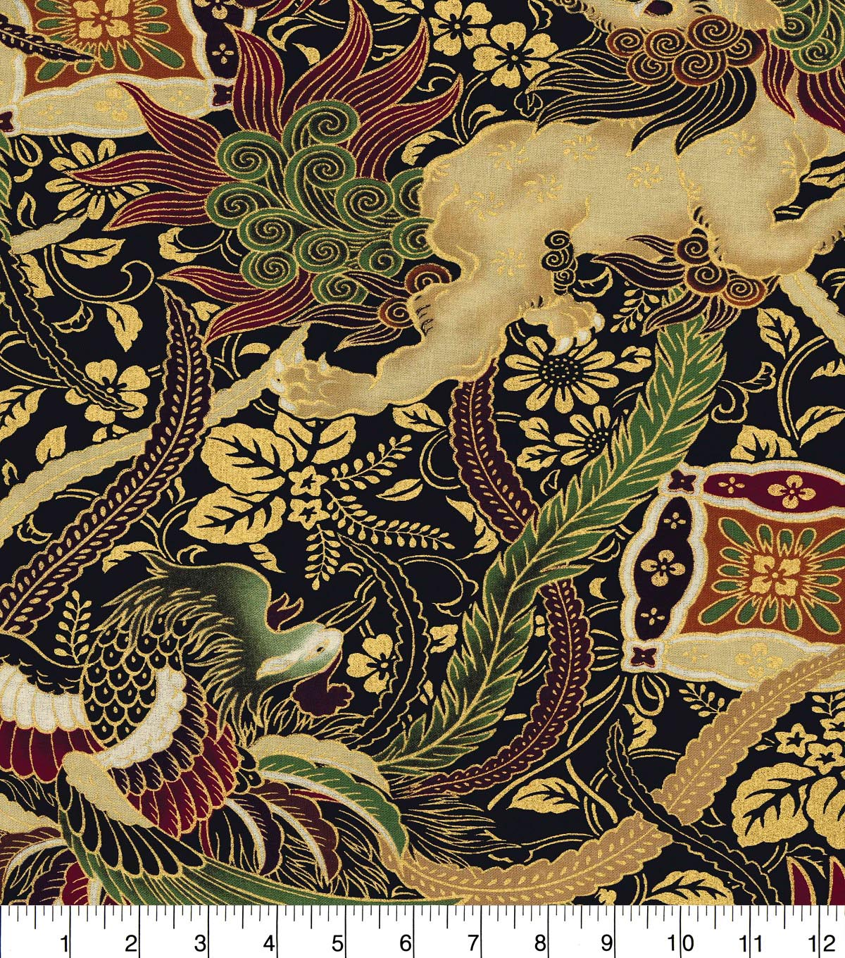 Asian Inspired Cotton Fabric 44\u0022-Mythical Animals Metallic