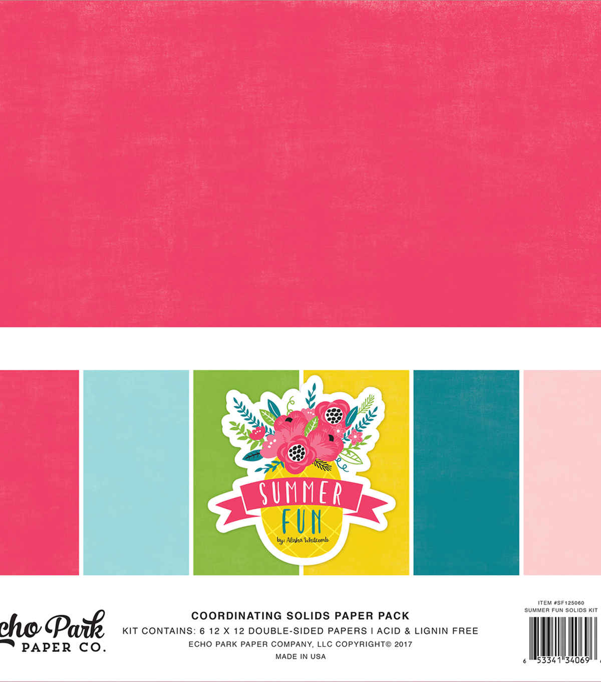 Double-Sided Solid Cardstock 12\u0022X12\u0022-Summer Fun 6 Colors