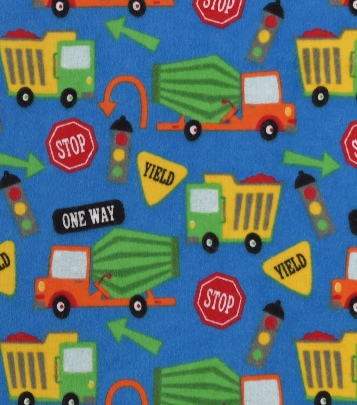 Snuggle Flannel Fabric 42\u0022-Construction Trucks