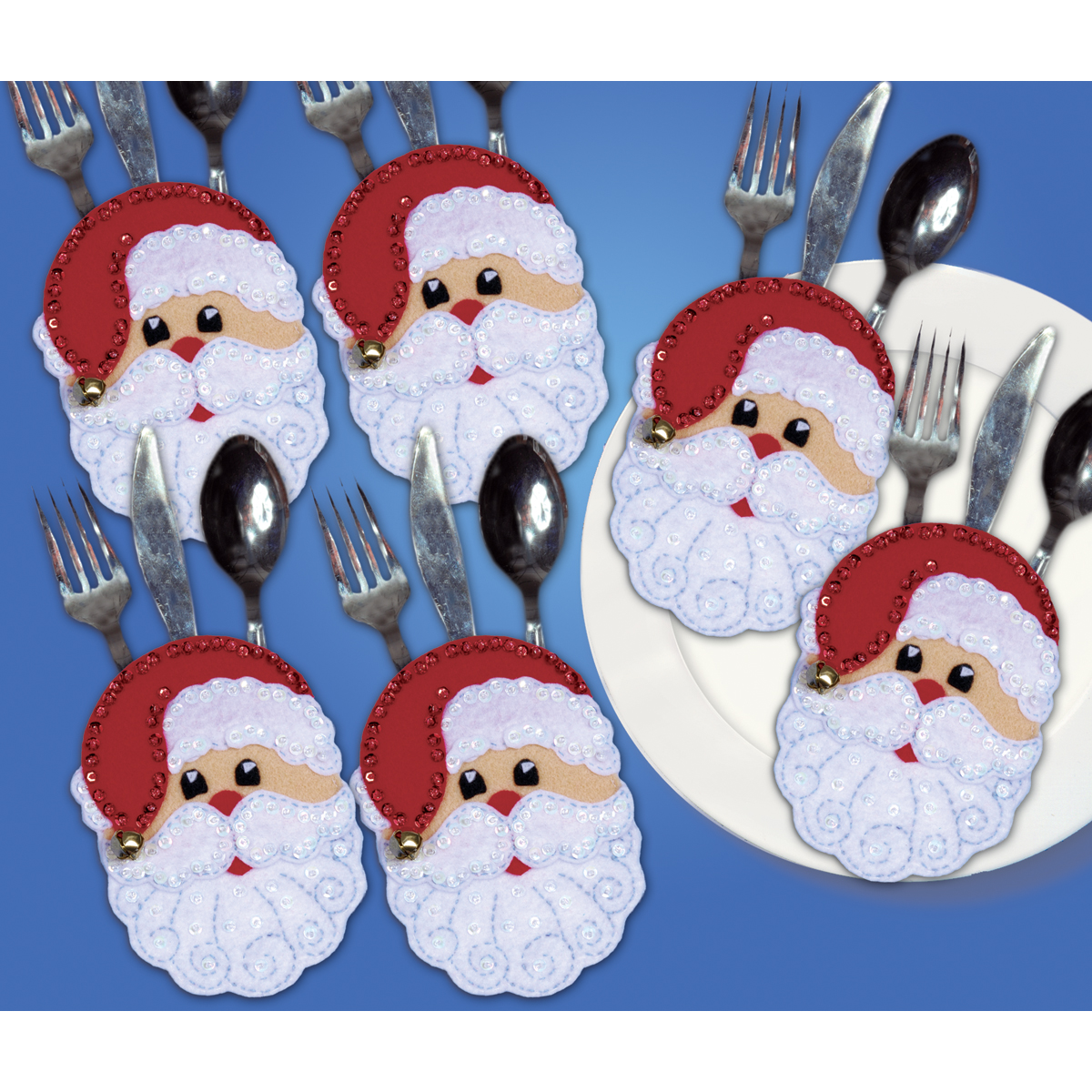 Design Works Silverware Pocket Felt Applique Kit Santa Faces