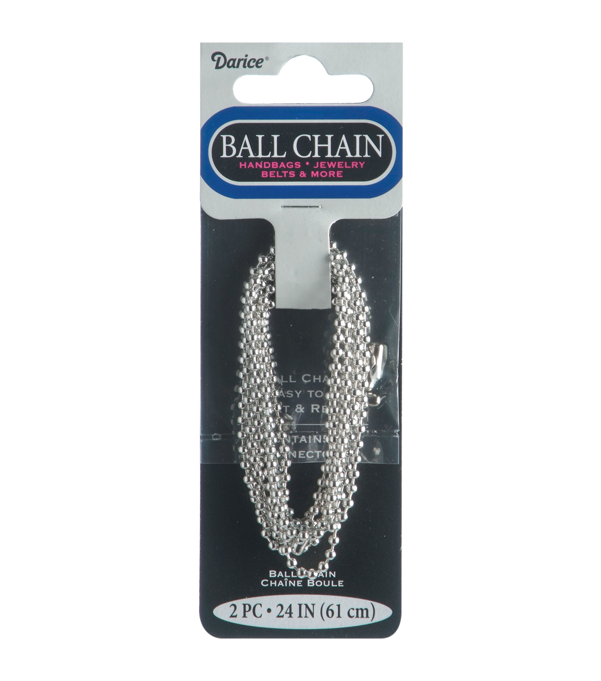 Ball Chain Metal Plated Chain 2.4mm 24\u0022 2/pkg-Silver/Ball