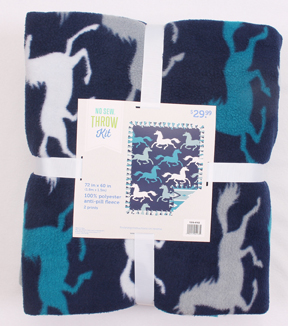 No-Sew Throw Fleece Fabric 72\u0022-Teal Running Horses Aztec