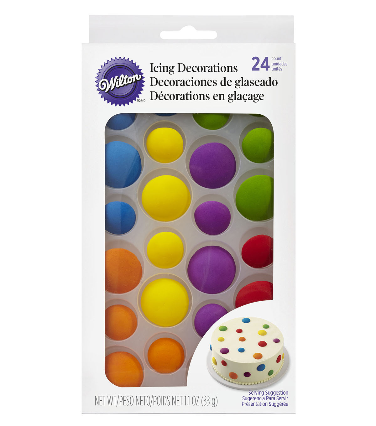 Wilton® 24 Pack 1.1 oz. Colorful Dots Edible Icing Decorations