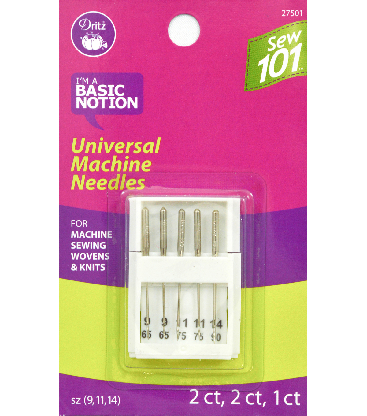 Schmetz Universal Sewing 101 Machine Needle 5pcs Sizes 9, 11,14