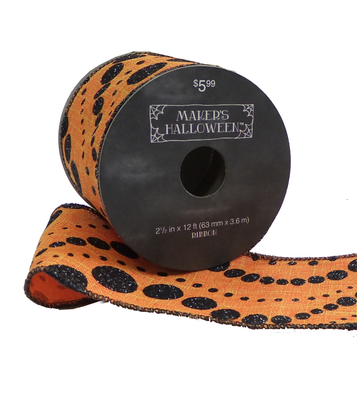 Maker\u0027s Halloween Ribbon 2.5\u0027\u0027x12\u0027-Black Dot Wave on Orange