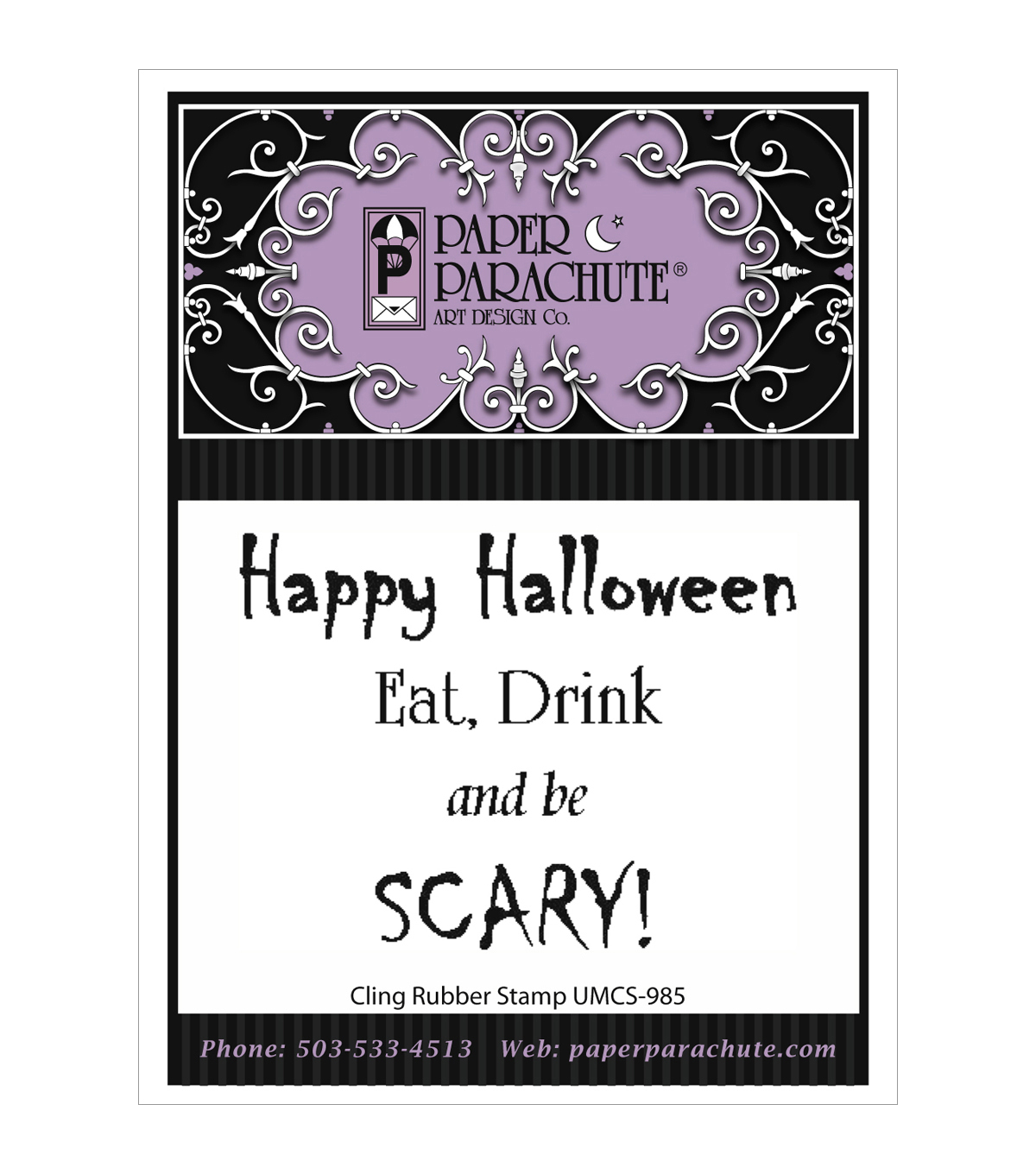 Paper Parachute Cling Rubber Stamps-Scary Phrase