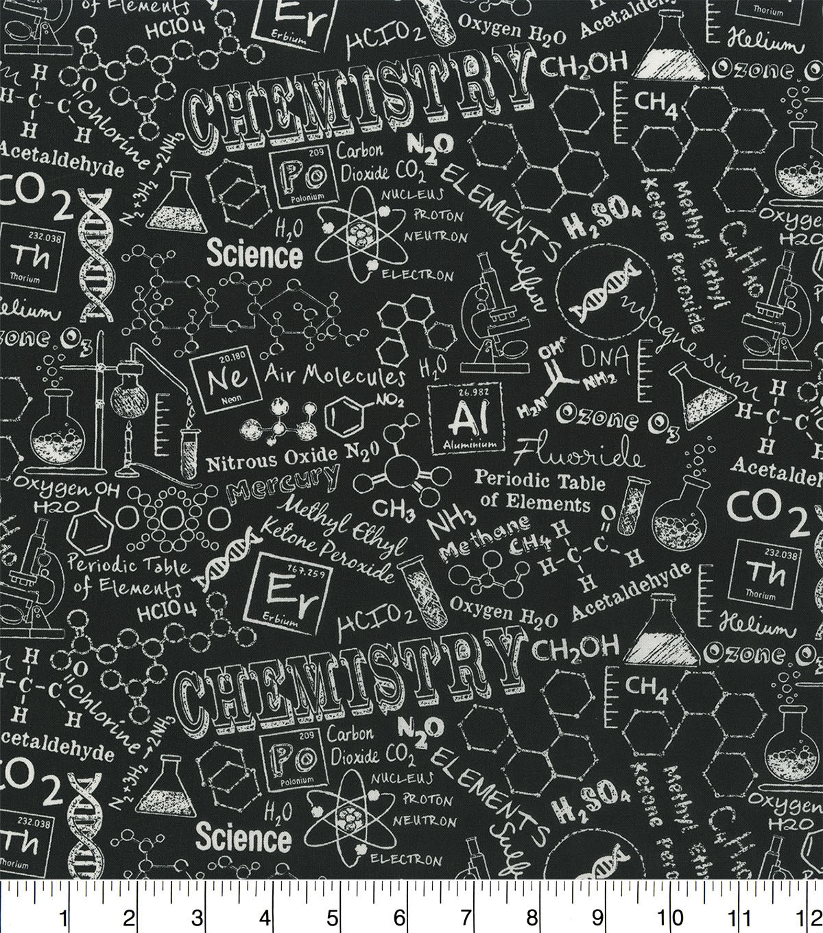 Novelty Cotton Fabric 44\u0027\u0027-Chemistry Blackboard