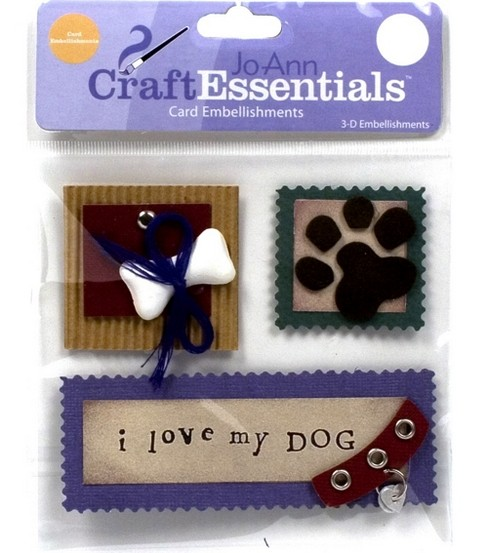 Craft Essentials I Love My Dog Embellishments