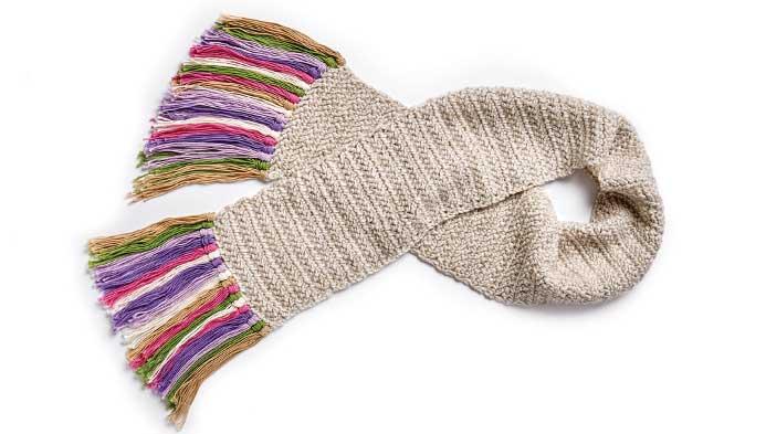Double Herringbone Crocheted Scarf