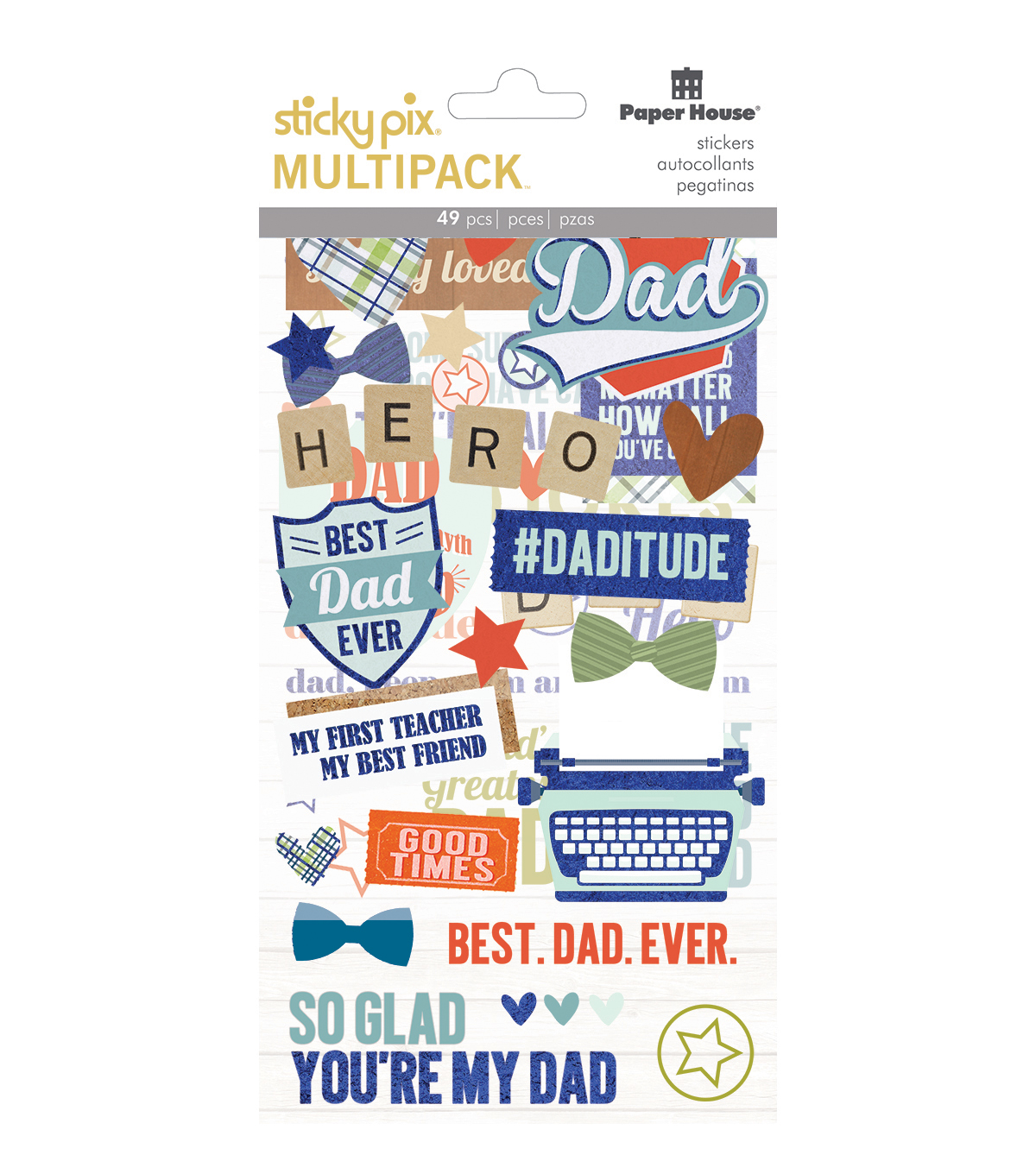 Paper House® Sticky Pix Pack of 49 Flip Pack Stickers-Dad