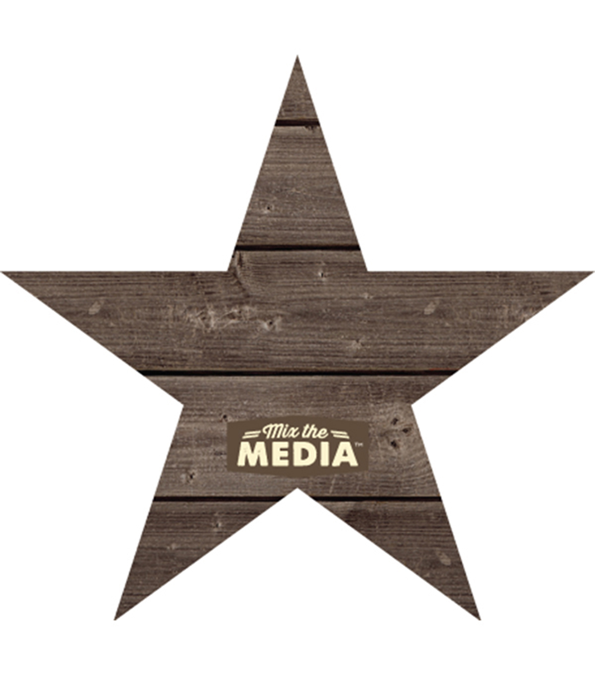 "Mix The Media Wooden Plank Plaque-Star 13.75""X13"""