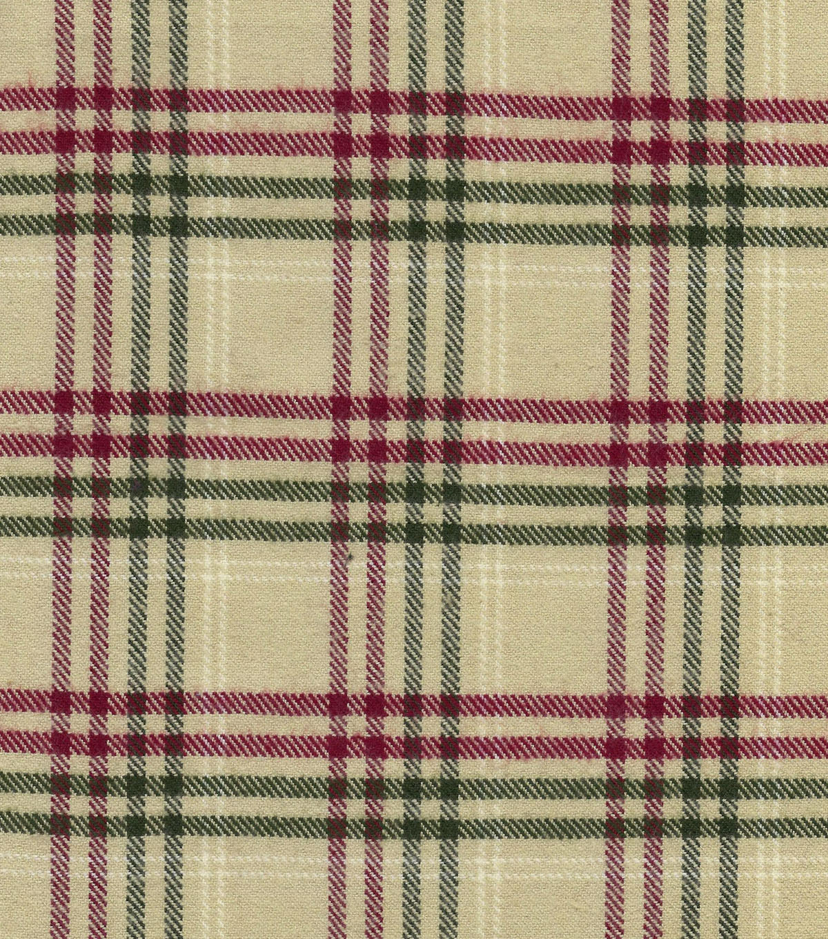 Plaid Brush Cotton Cream Red Olive