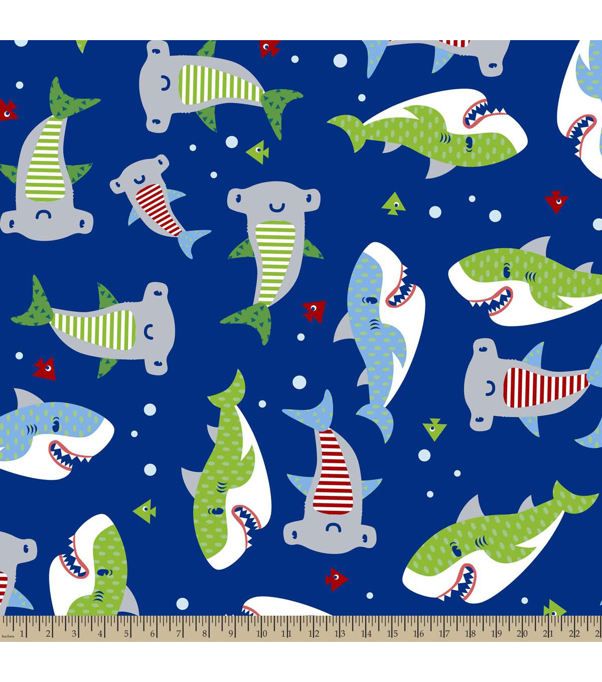Anti-Pill Fleece Fabric 59\u0022-Pattern Filled Sharks