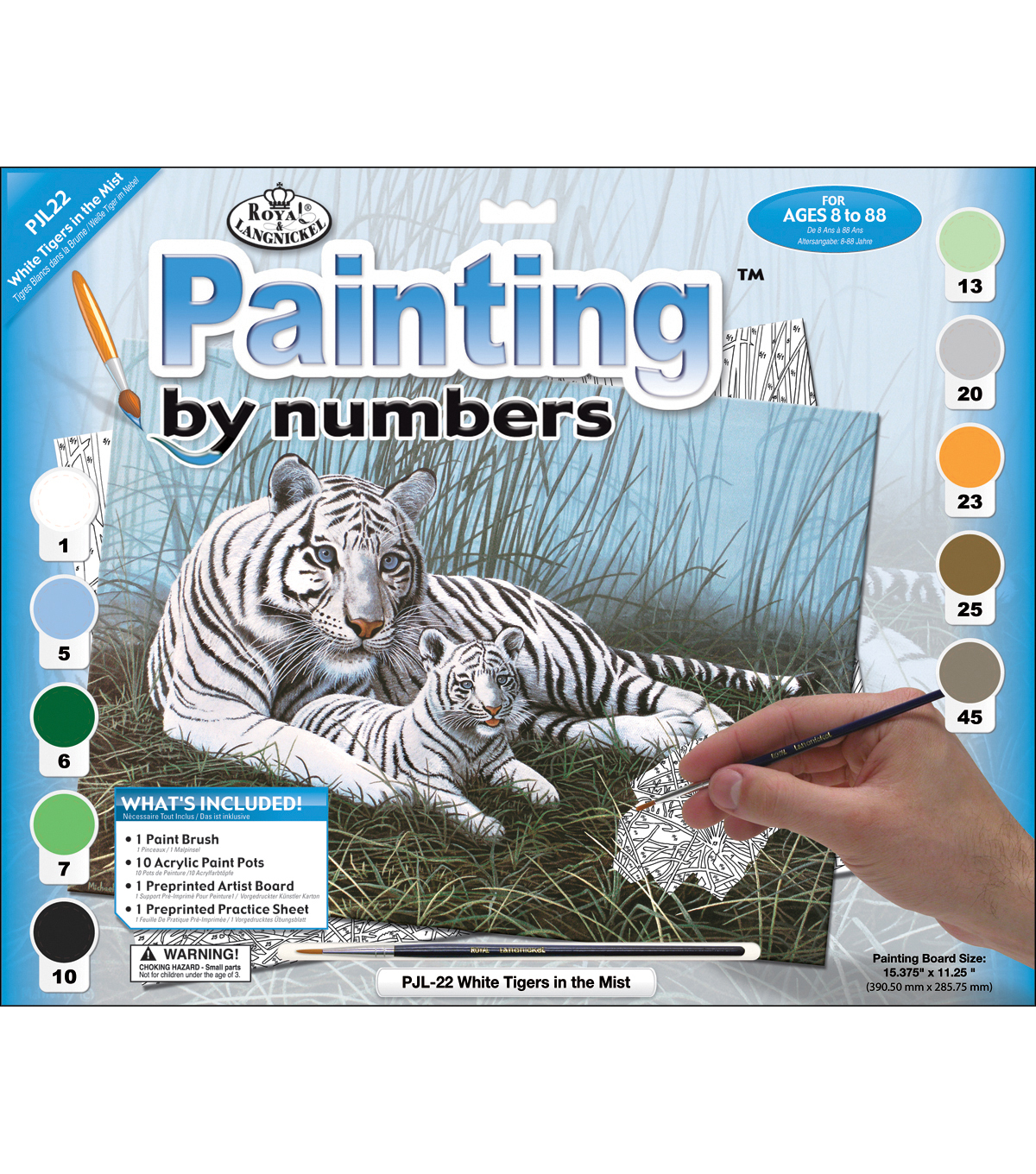15-1/4\u0027\u0027x11-1/4\u0027\u0027 Junior Paint By Number Kit-White Tigers In The Mist