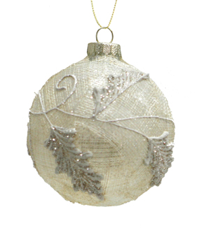 Maker\u0027s Holiday Christmas Globe with Embroidered Branches Ornament-Ivory