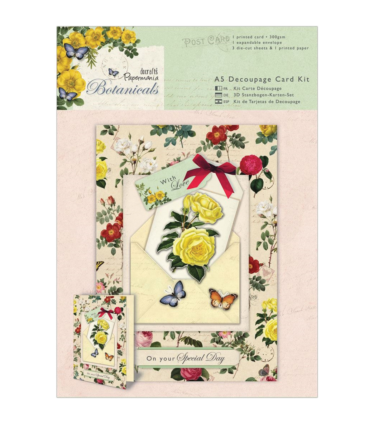 Papermania Botanicals A5 Decoupage Card Kit-