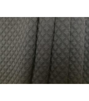 Knit Apparel Fabric-Quilted Diamond Black Knit