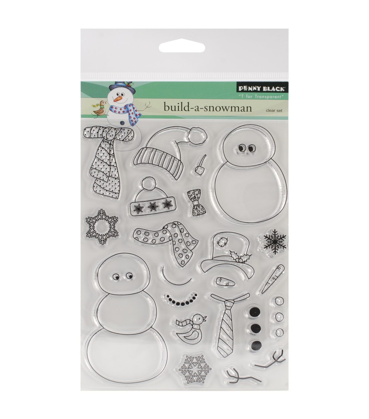 "Penny Black Clear Stamps 5""X6.5"" Sheet-Build-A-Snowman"