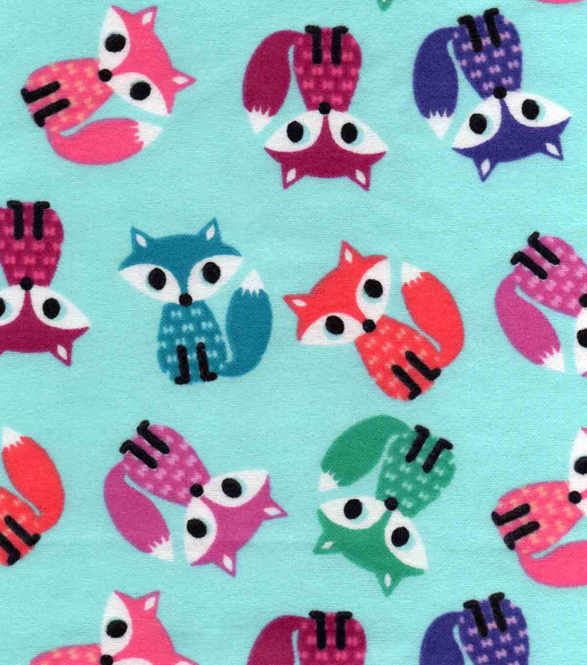 Snuggle Flannel Fabric 42\u0022-Coloful Foxes