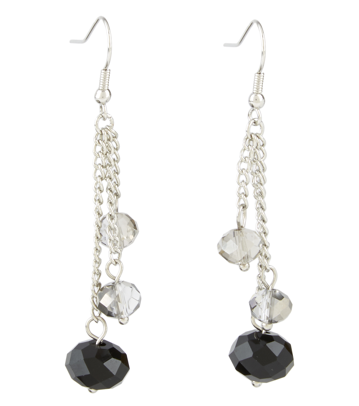 Chain Three Drop Earring Jet Crystal