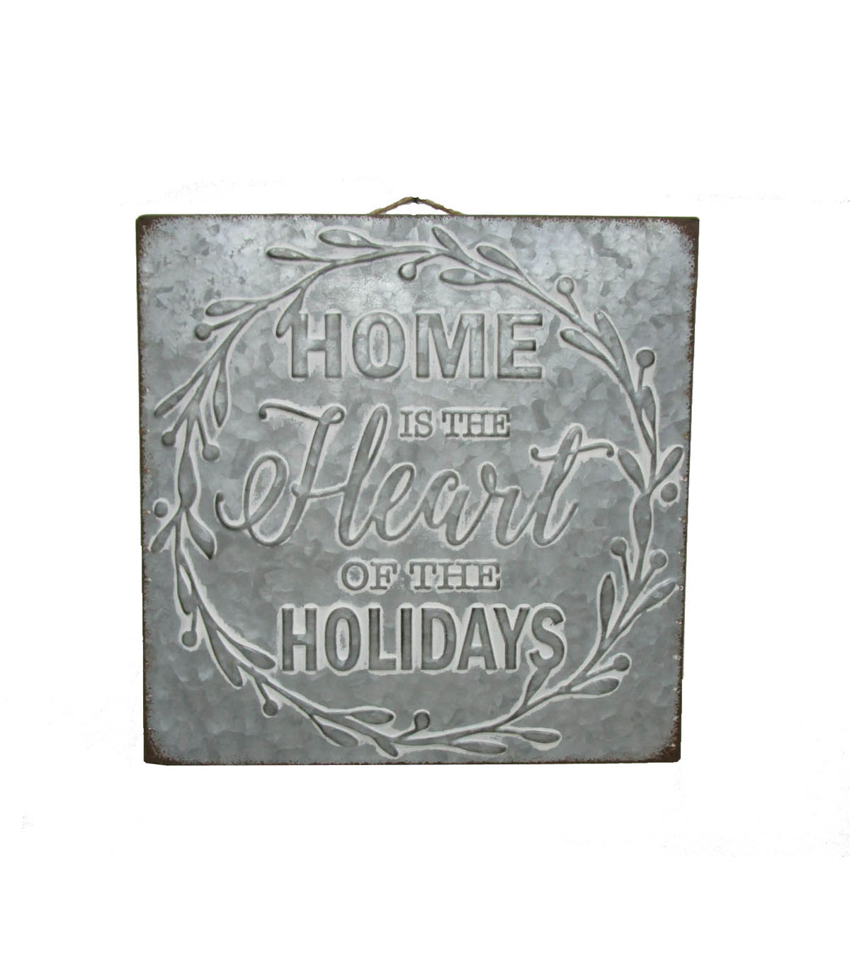 Maker\u0027s Holiday Christmas Tin Word Sign-Home is The Heart of The Holiday