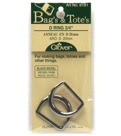 Black Nickel D Ring-3/4\u0022 2/Pkg