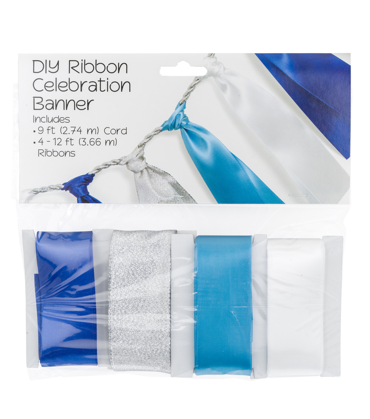 Offray® Hanukkah DIY Ribbon Celebration Banner Kit-Silver & Blue