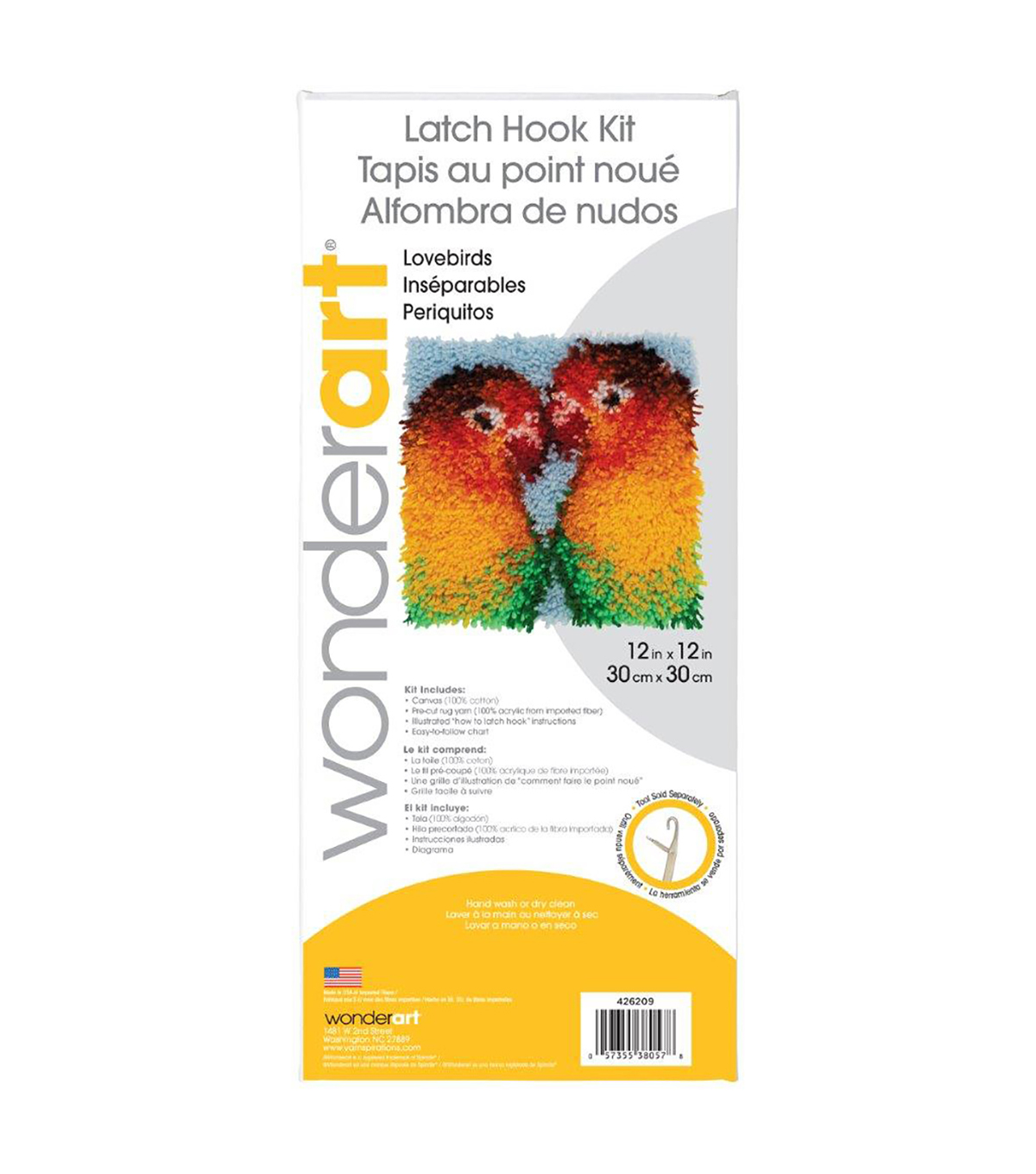 Wonderart Latch Hook Kit 12\u0022X12\u0022-Lovebirds