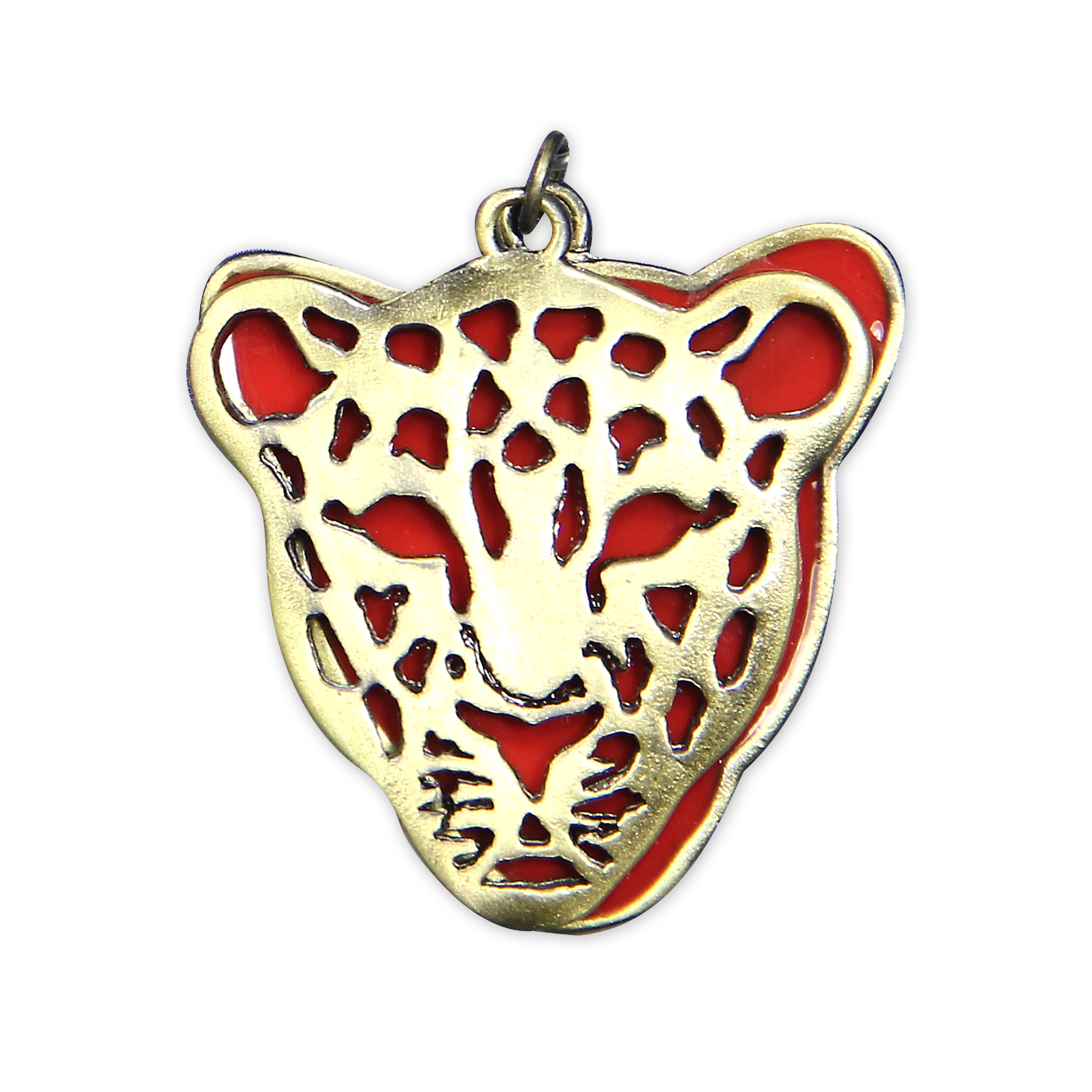 Blue Moon Beads Pendant, Leopard Head, Layered, Red with Antique Gold