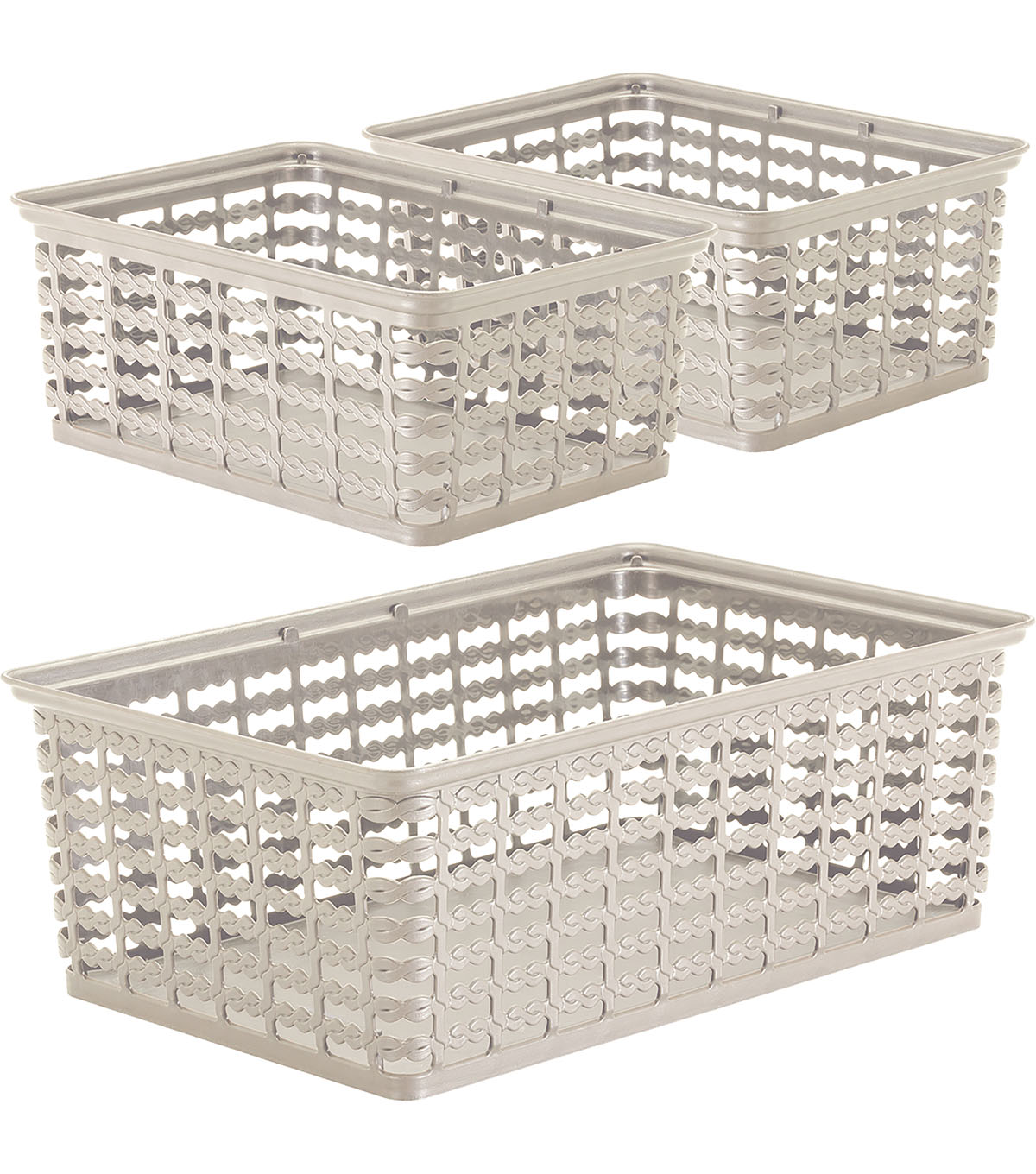 Rimax 3 pk Deco Storage Baskets-Taupe
