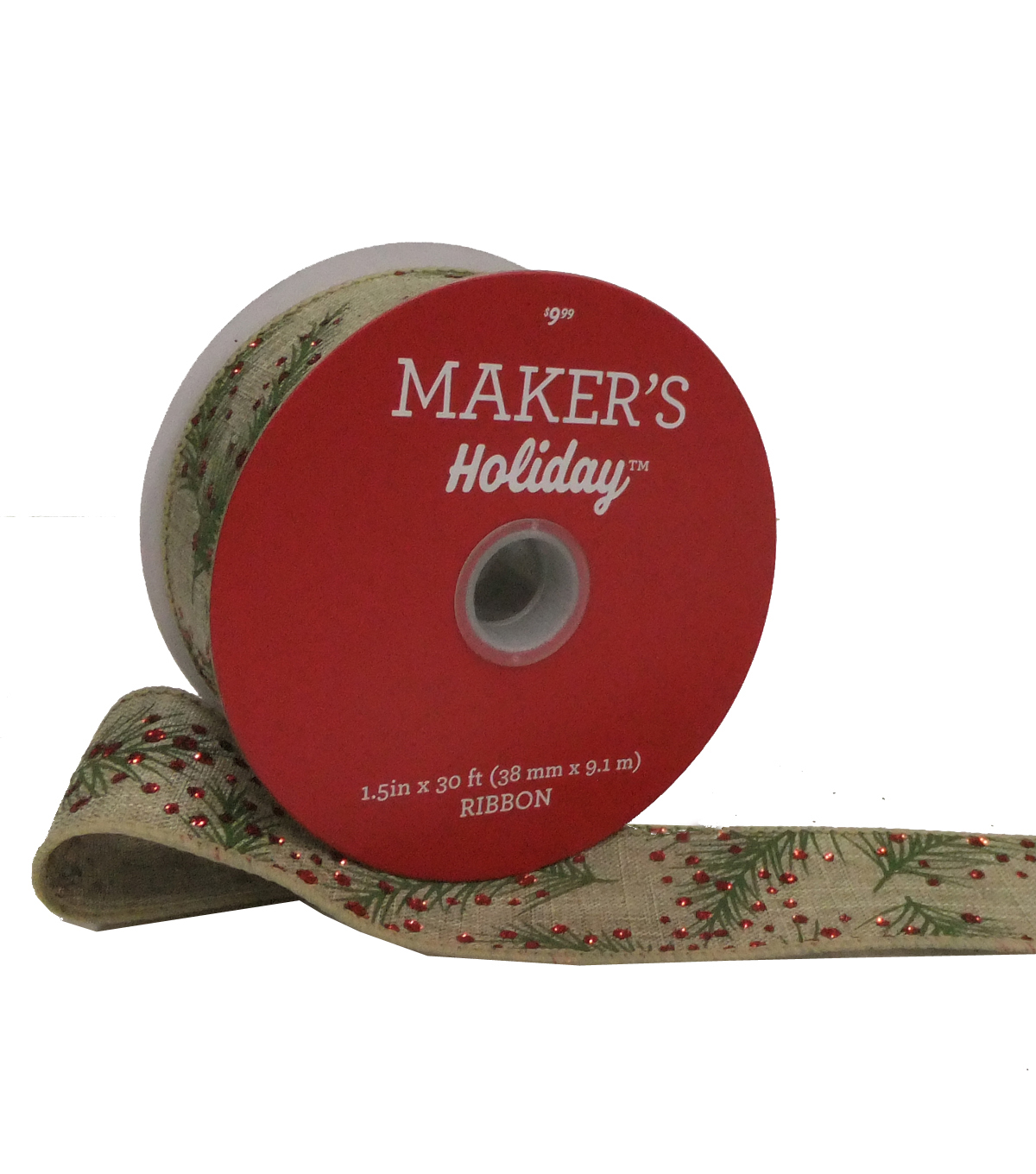 Maker's Holiday Christmas Linen Ribbon 1.5''X30'-Green Pines & Red Dots