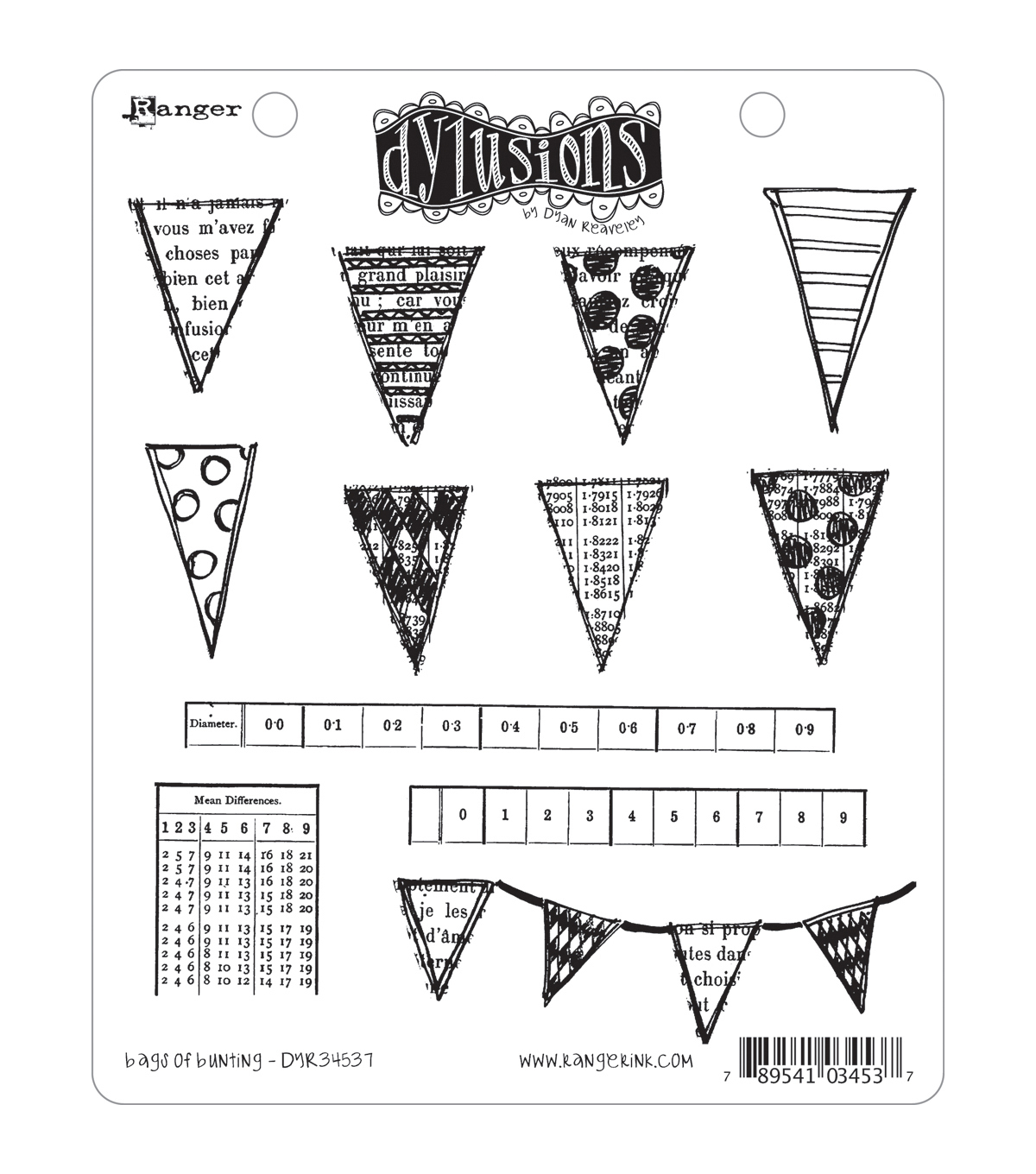 Dyan Reaveley\u0027s Dylusions Cling Stamp Collection-Bags Of Bunting