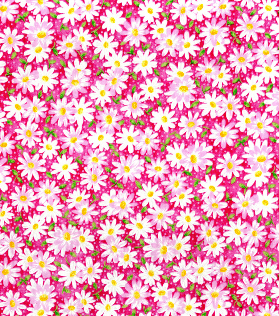 Keepsake Calico™ Cotton Fabric 44\u0022-Packed Daisy Pink
